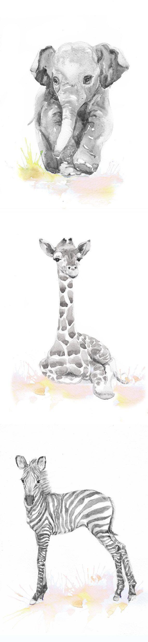 Neutral Nursery Decor, Set of 3 prints, Baby Animals Nursery , Watercolor painting, Safari Wall Art Watercolour Print, New baby Gift, Jungle Set of 3