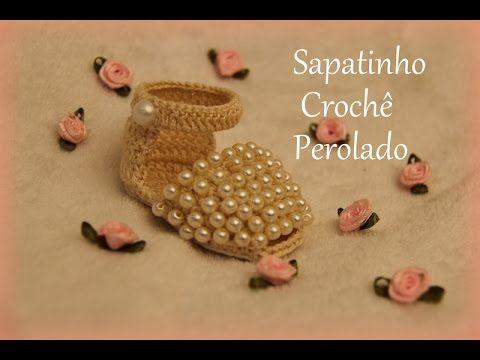 Passo a passo Sapatinho de crochê Perolado - Professora Simone - YouTube