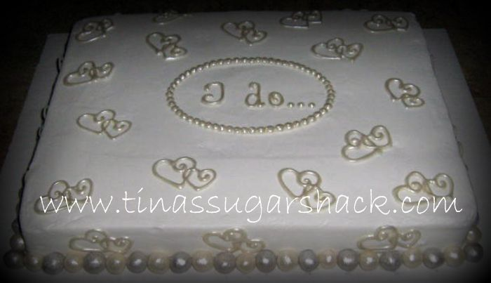 bridal shower cakes | sheet cake iced in buttercream with white chocolate accents ...