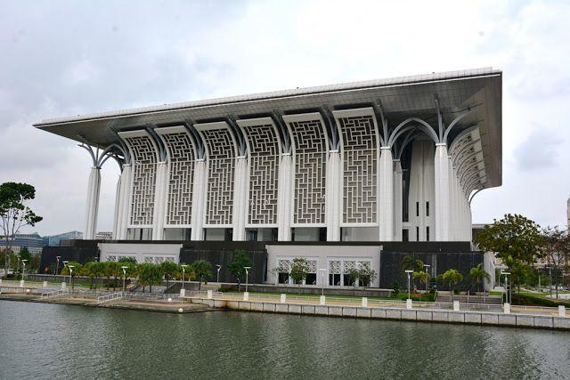 Modern architecture of the Putrajaya Steel Mosque Kuala Lumpur