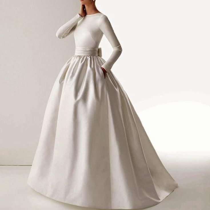 New 2015 Vintage Elegant Boat Neck Long Sleeve Sash Bow Pockets Ball Gown White Muslim Wedding Dresses Vestido