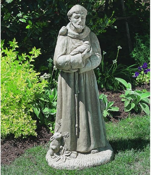 St Francis with Animals Garden Statue - Garden Statues at Hayneedle