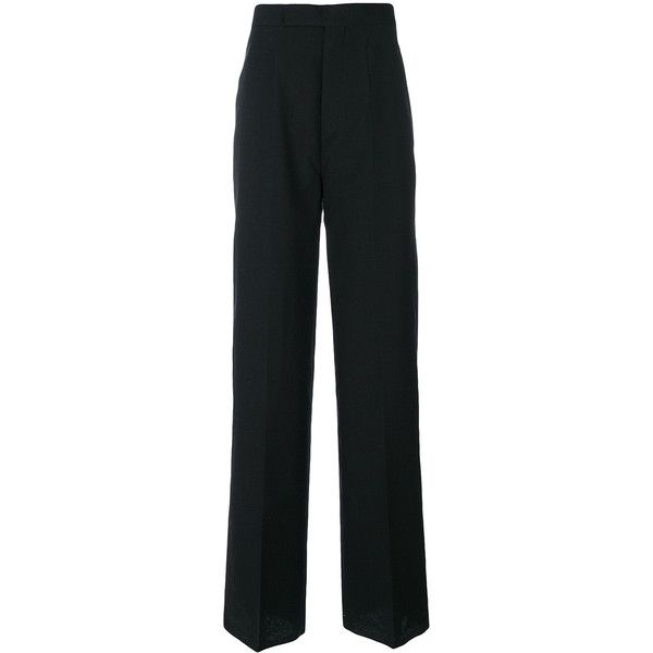 Rick Owens wide-leg trousers (€515) via Polyvore featuring men's fashion, men's clothing, men's pants, men's casual pants, black, mens wide leg pants, mens high waisted pants, men's high rise pants et rick owens mens pants
