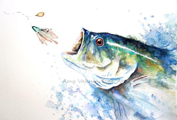 Large mouth bass fish print sport fish 8x10 print for Bass fishing art
