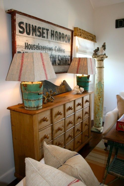 Great piece...and those bucket lamps are different. A little beach house decor perhaps.: Decor Ideas, Folk Art, Beaches Signs, The Angel, Lakes Houses Decor, Beaches Houses, Families Rooms, Beaches Style, Beaches Cottages