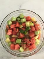 A yummy, cool refreshing salad: watermelon, cucumber, grapefruit, basil, mint, shredded Apple, lime juice and zest (for those at goal weight...add a little avocado). Let it marinate for an hour or more.