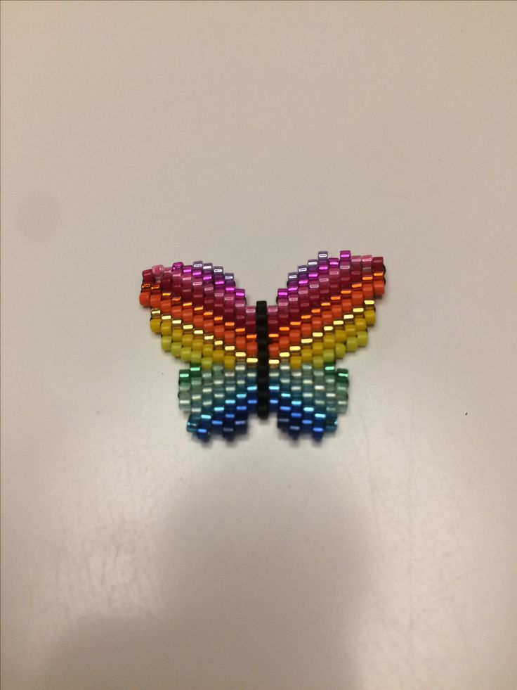 Rainbow butterfly pendant made of delica beads - my own pattern.
