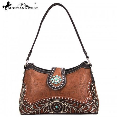 WESTERN CONCHO HANDBAG - BROWN