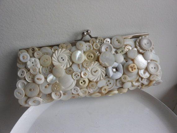 Cream and white vintage button evening bag bridal by 2007musarra, $49.99