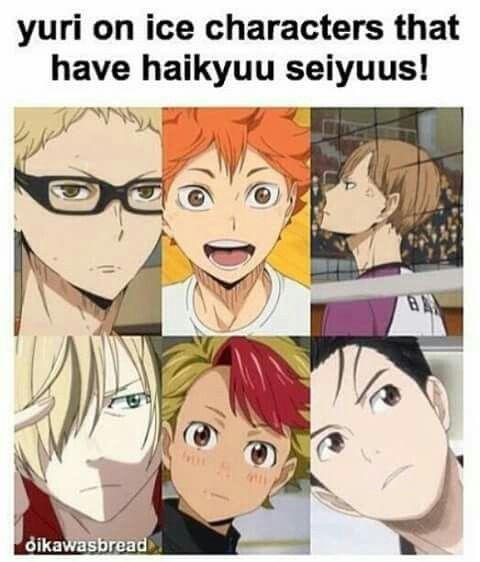 Seiyuu fact: Did you know that 3 characters of Haikyuu!! have the same v.a.s as of Yuri!!! on Ice?! Uchiyama Koukji(known for voicin salty characters) provided the voice of Tsukishima and Yuri, Ayumu Murase(known for voicing cinnamon rolls) provided the voice of Hinata and Minami, and Toyonaga Toshiyuki(known for voicing characters with low self esteem) provides the voice of Shirabu and Yuuri!!