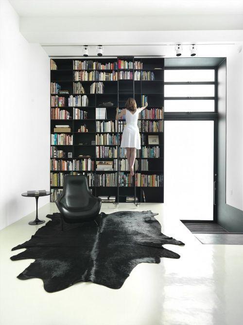Bookshelves with library ladder.  Love!