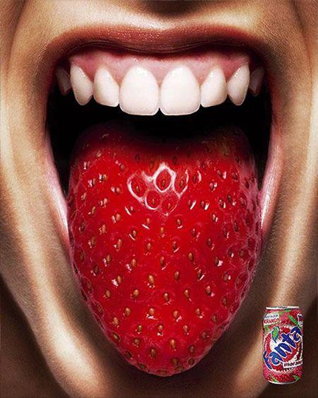 Affiche de pub : Fanta goût fraise sur http://flepi.net