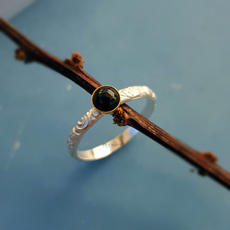 Black Onyx Ring Onyx Ring Black Stone Ring Dainty Onyx Ring Small Stack Ring Black Onyx Gold Silver Onyx Ring Black Gemstone Ring by INNOCENTIJEWELRY on Etsy