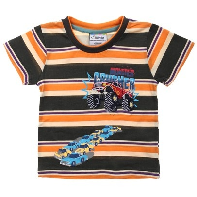 z.Orange/Black/Cream Stripe Tee With Trucks And Cars Print-AJ65022-Orange-Black-Cream $12.00 on Ozsale.com.au