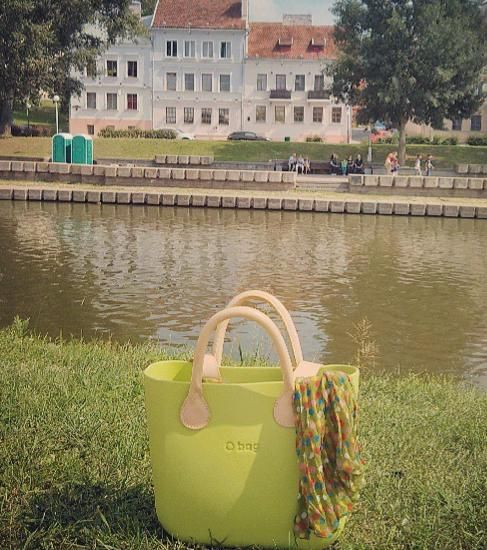 Fullspot Mini O Bag in Apple green with natural leather handle and shoulder strap #Handbags
