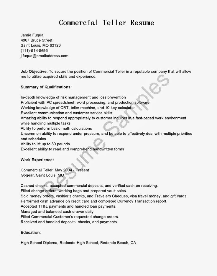 Bank Teller Objective For Resume  Resume Cv Cover Letter