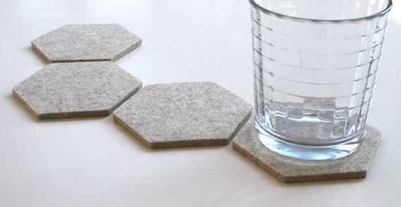Geometric Hexagon Felt Coasters Modern Minimalist by feltplanet