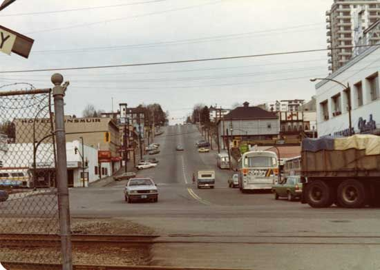 Photograph shows view of Eighth street and Front Street. Hotel Dunsmuir is seen in the background. [ca. 1982] IHP9213
