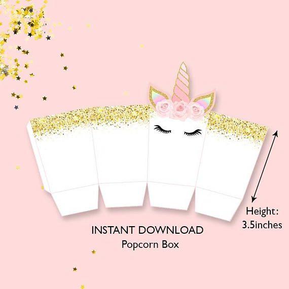 Diy Popcorn Box Unicorn Gold And Pink Popcorn Box Unicorn