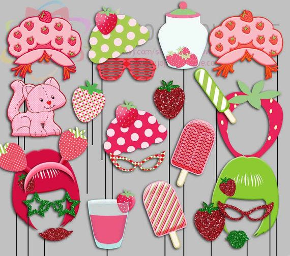 Vintage Strawberry Girl Party Photo Booth Props Old School