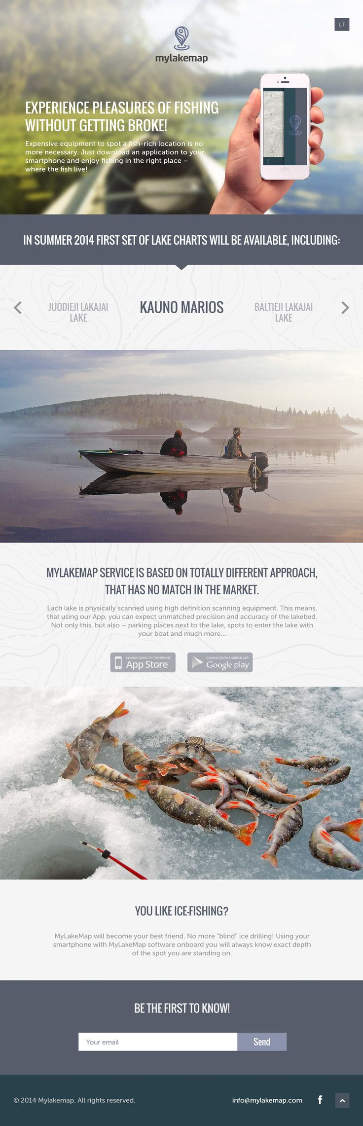 Launching soon page for 'Mylakemap' - an upcoming app to aid your fishing experience. The imagery is great and fills a big screen well but feel a lot of love was lost towards the footer when comparing to the header. Nice touch with the contours behind the lake names.