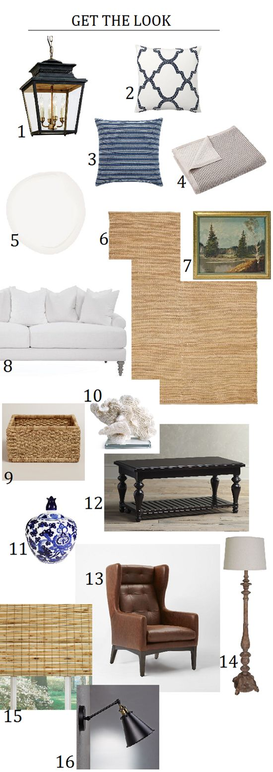 Recreating a classic, casual, blue, white and black living room.
