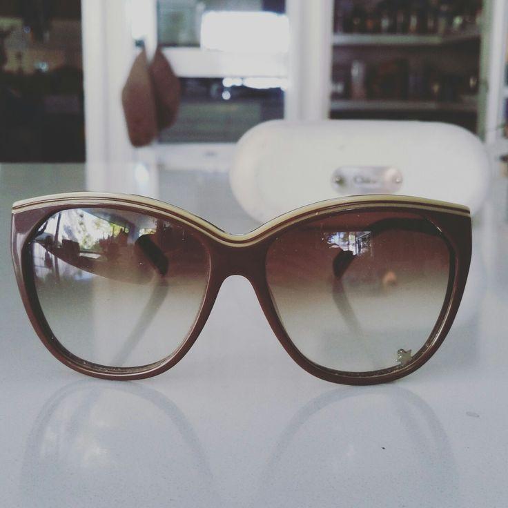 Chloe Sunglasses with star $60 Beautiful caramel brown frames with light lenses. Few minor scratches. With case. #chloe #sunglasses #brown #love #style #eyewear #super #p4foz