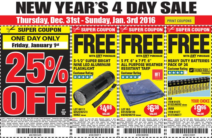 Harbor Freight New Years Day Sale 25% and free stuff w/purchase #LavaHot http://www.lavahotdeals.com/us/cheap/harbor-freight-years-day-sale-25-free-stuff/56942