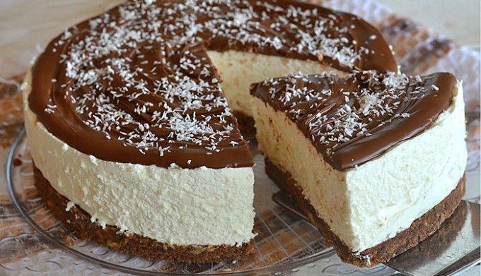 Kokosový cheesecake s nutelou BEZ PEČENÍ | NejRecept.cz