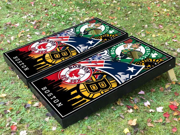 Boston Bruins Boston Celtics Boston Red Sox and New England Patriots custom cornhole boards