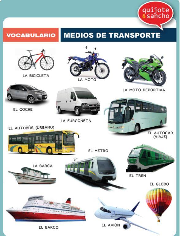 Medios de transporte.  http://quijotesancho.com/vocabulario-2/ Descarga:  http://www.quijotesancho.com/vocabulario/medios_transporte.pdf
