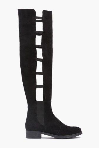 Cizme lungi de vara cu decupaje din piele intoarsa naturala 1707-N negru -  Ama Fashion