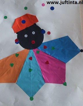 zwarte piet met gevouwen kraag en hoed