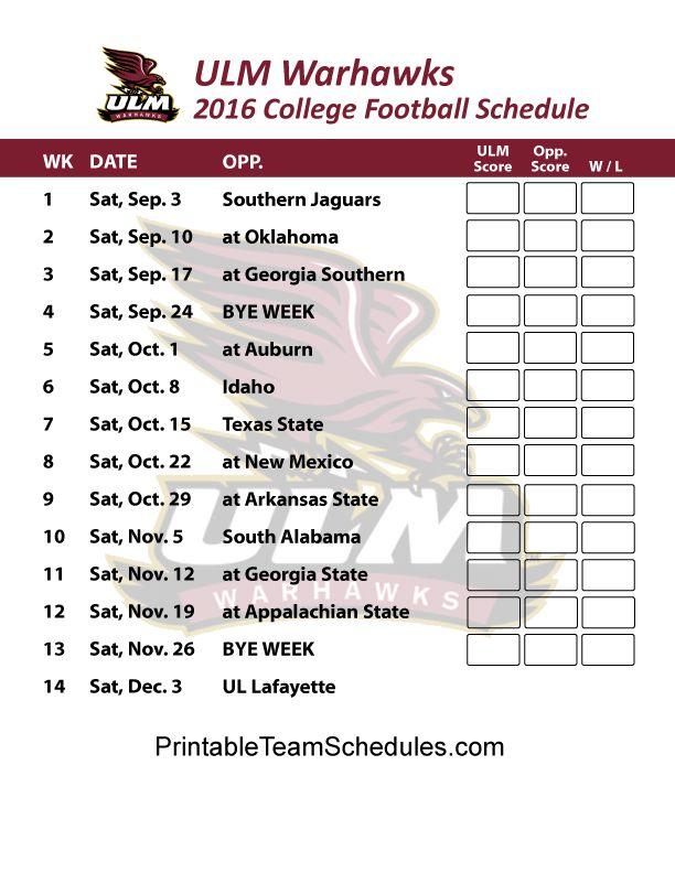 ULM Warhawks  2016 College Football Schedule Print Here - http://printableteamschedules.com/collegefootball/louisianamonroewarhawks.php