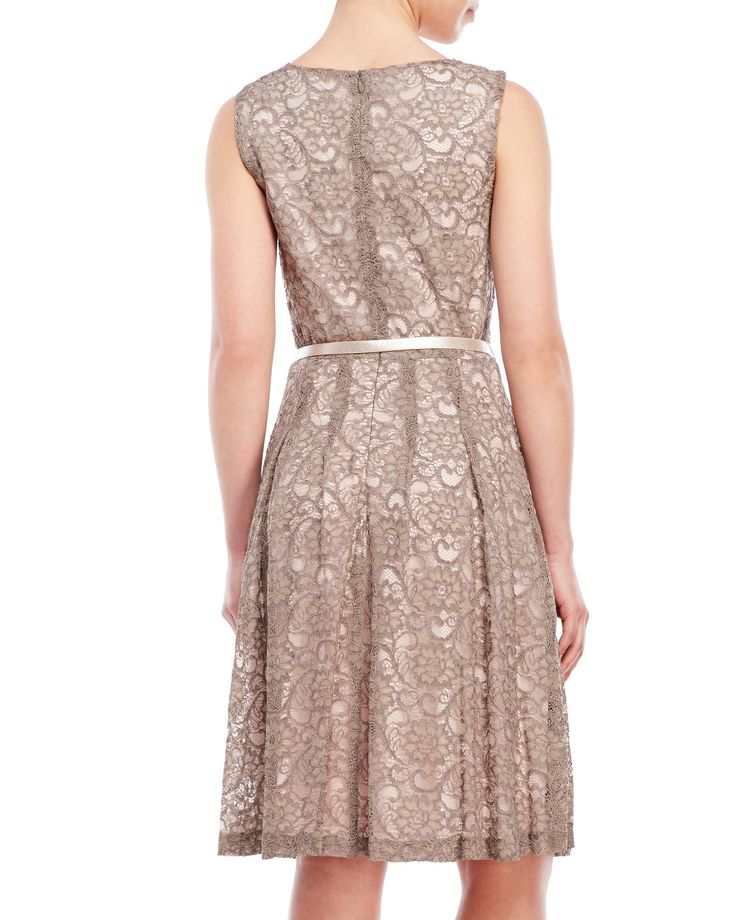 Petite belted lace dress