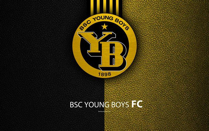 Download wallpapers BSC Young Boys FC, 4k, football club, leather texture, logo, emblem, Swiss Super League, Bern, Switzerland, football