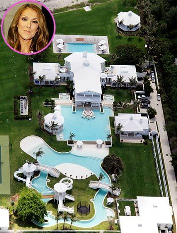 Celine Dion shares this 12.5 million dollar mansion with husband Rene Angelil in Jupiter Island, Florida.
