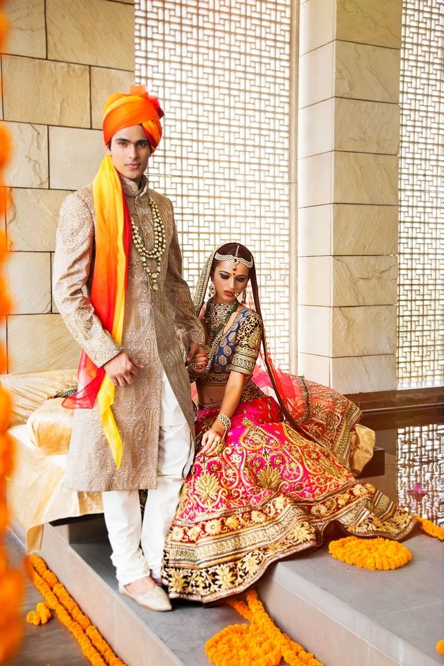 DLF Emporio - The Treasury of Trousseau - 2014 #bride #lehenga #maangtikka #ranihaar #gorgeous #pink #groom #sherwani #wedding #wedmegood