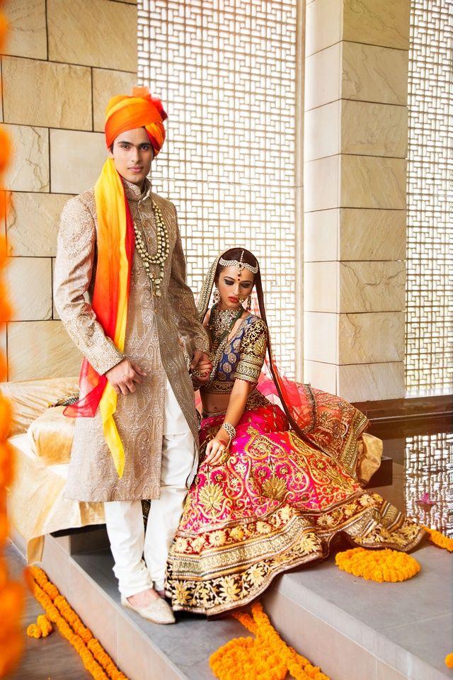 DLF Emporio - The Treasury of Trousseau - 2014 #bride #lehenga #maangtikka #ranihaar #gorgeous #pink #groom #sherwani #wedding #wedmegood