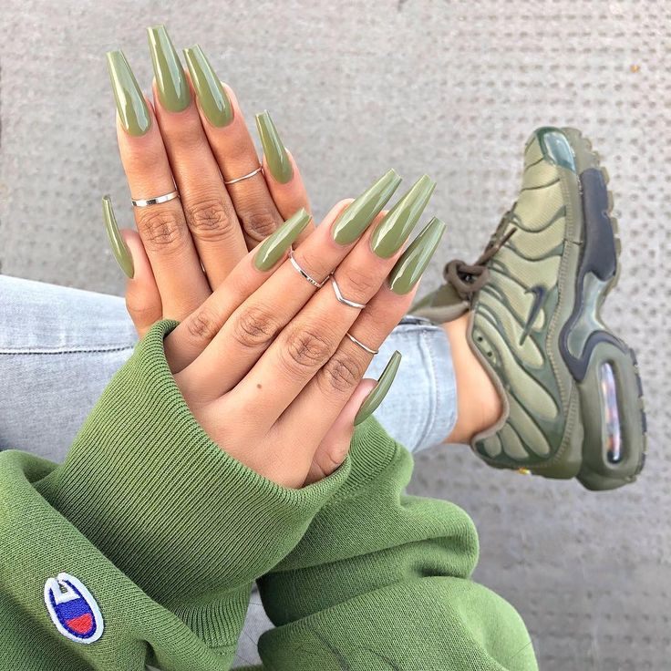 Long Green Coffin Nails. pinterest: Self Care Overload | Self Care, Mental Healt…