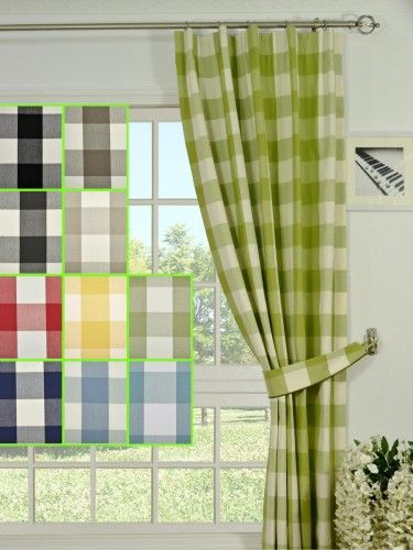 Moonbay Checks Versatile Pleat Cotton Curtains Fabric material: 100% cotton Colors available: Black, Ecru, Ebony, Sand, Cardinal, Golden yellow, Medium spring bud, Duke blue, Sky blue and Powder blue Patterns are printed. Pattern repeat: 16cm(W) * 16cm(H) Fabric weight: 252gsm 5 major headings can be formed.