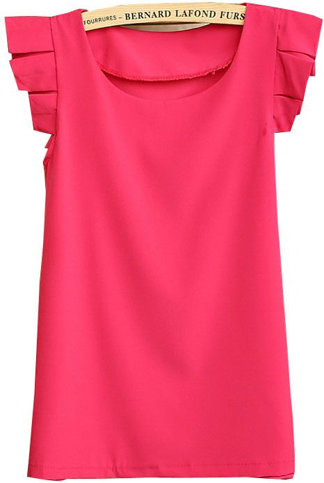 Rose Red Round Neck Pleated Short Sleeve Chiffon Blouse