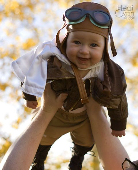 Let your little girl fly with this adorable pilot costume. Complete with goggles and a scarf, this getup will leave everyone oohing and ahhing. See more at Heat Oven to 350.