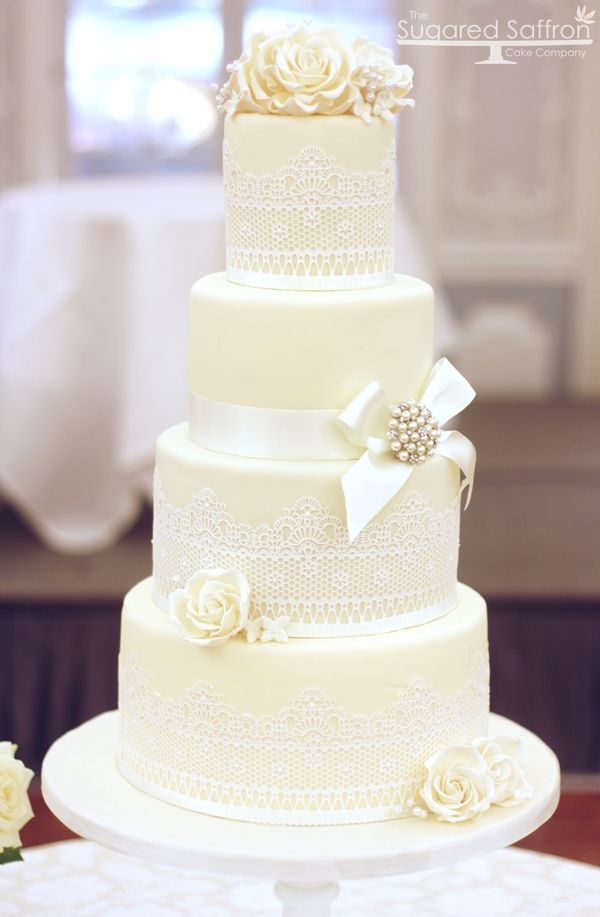 Ivory and edible lace wedding cake at the Dorchester from Sugared Saffron.