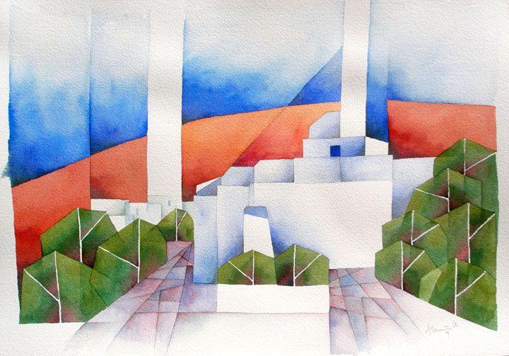 Kirche auf Folegandros, 2009, Aquarell, 36 x 51 cm