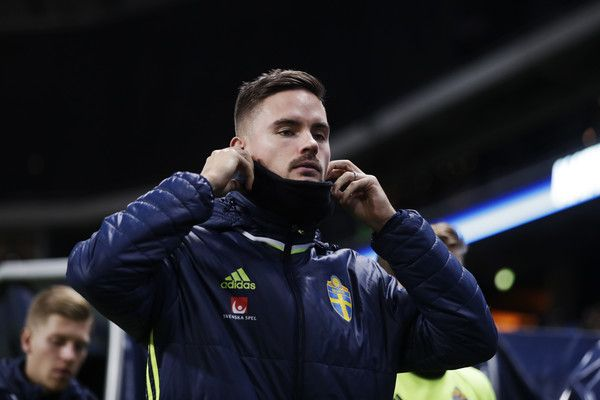 Mikael Lustig of Sweden on the bench during the FIFA 2018 World Cup Qualifier between Sweden and Bulgaria at Friends Arena on October 10, 2016 in Solna, Sweden.