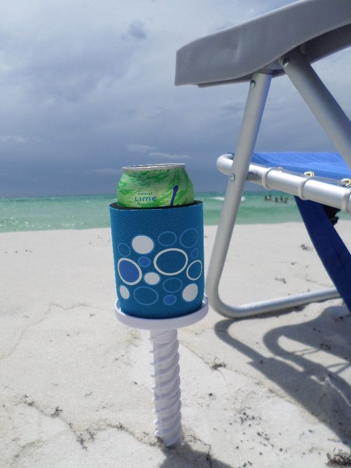 This magnetic, insulated can cookie takes front stage or shall I say side stage to my beach chair.  No drinks spilling over or sand getting in thanks to this cool beach chair accessory.