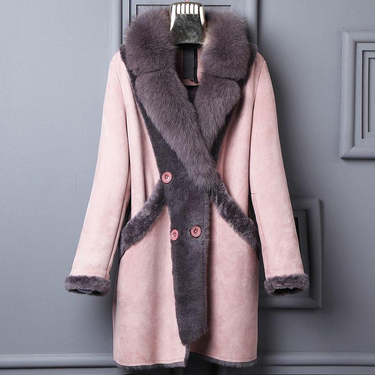 Натуральной овчины пальто женские розовые пальто зима сдвига мех один кусок куртки натуральным лисьим мехом воротник Бесплатная доставка Новый Феникс 1231 h купить на AliExpress