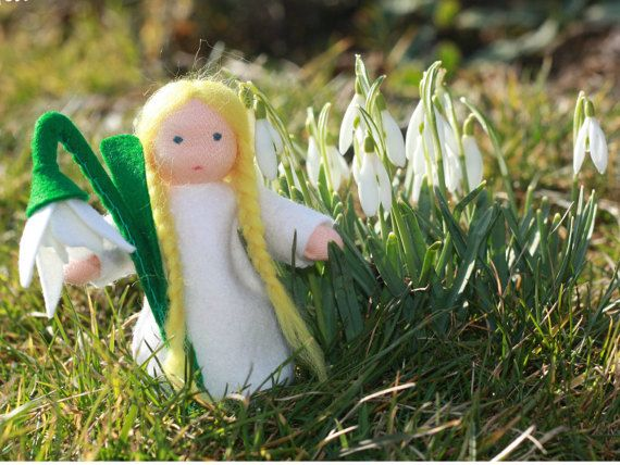 Snowdrop  Flower Fairy  Waldorf doll  Nature table by ElodeaToys