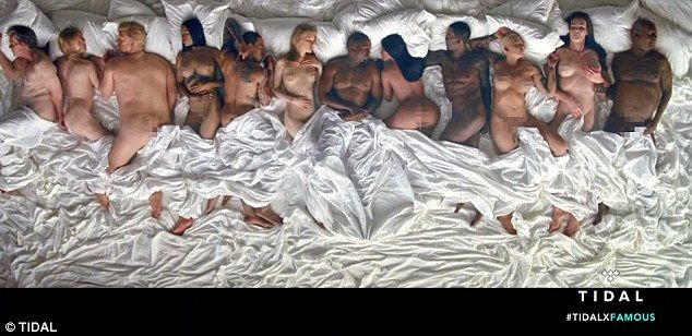 Kanye West's new music video 'Famous' features him and his wife Kim Kardashian sprawled naked on a giant bed with a bunch of other naked celebrities - including fake versions of alleged serial rapist Bill Cosby; woman-beater Chris Brown lying next to Rihanna, and Kim's former sex tape costar Ray J. It also hasDonald Trump, George W Bush, Anna Wintour, Taylor Swift, Amber Rose and Caitlyn Jenner